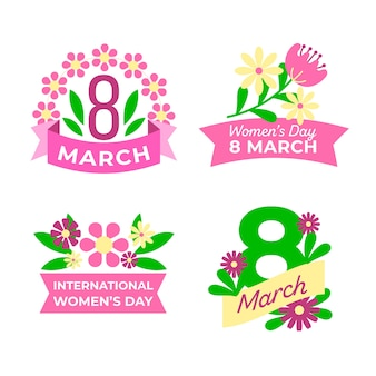 Kolekcja etykiet na dzień kobiet z różową wstążką i kwiatami