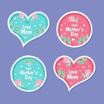 Kolekcja etykiet na dzień matki w płaskiej konstrukcji