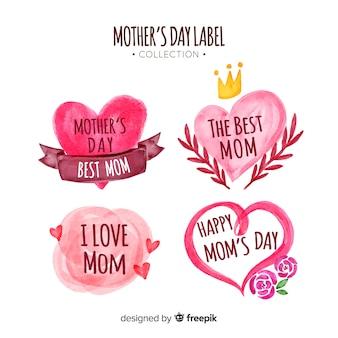 Kolekcja etykiet na dzień matki