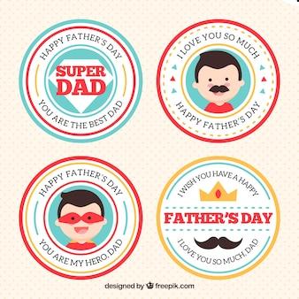 Kolekcja etykiet na dzień ojca w stylu płaski