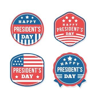 Kolekcja etykiet na dzień patriotycznego prezydenta