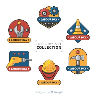 Kolekcja etykiet na dzień pracy