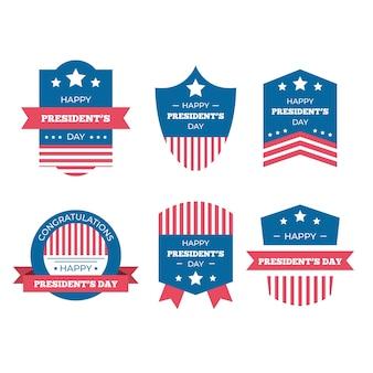 Kolekcja etykiet na dzień prezydentów