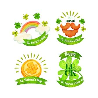 Kolekcja etykiet na dzień świętego patryka w akwareli