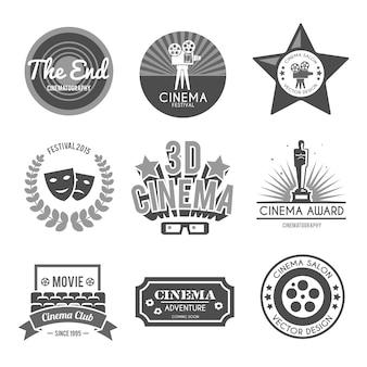 Kolekcja etykiet na kino czarna