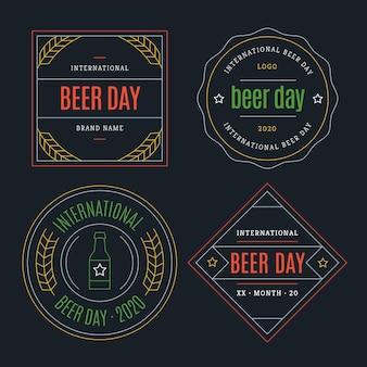 Kolekcja etykiet na międzynarodowy dzień piwa