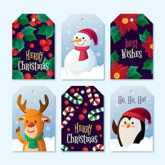 Kolekcja etykiet na motyw świąteczny
