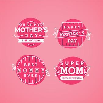 Kolekcja etykiet na płaski dzień matki