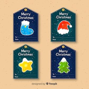 Kolekcja etykiet na prezent świąteczny