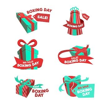Kolekcja etykiet na sprzedaż w drugi dzień świąt bożego narodzenia