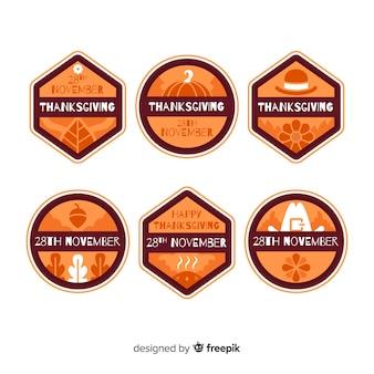 Kolekcja etykiet na święto dziękczynienia w płaskiej konstrukcji