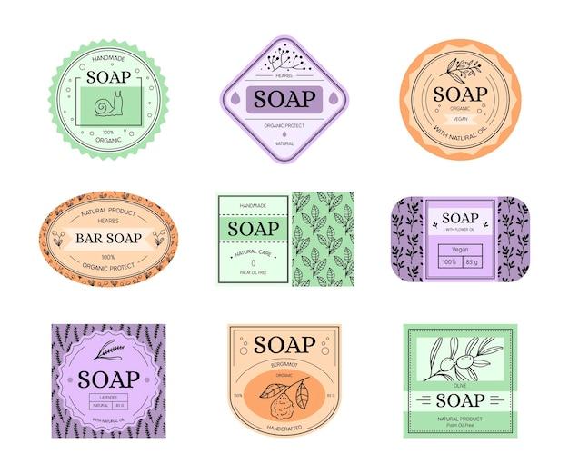 Kolekcja etykiet naturalnych mydła