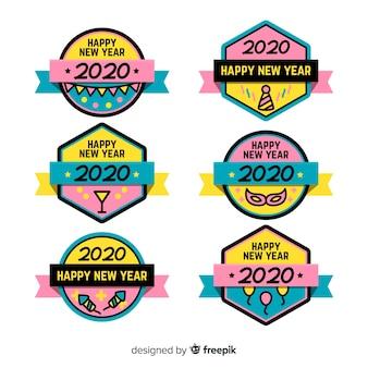 Kolekcja etykiet noworocznych płaska konstrukcja