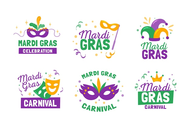 Kolekcja etykiet / odznak mardi gras