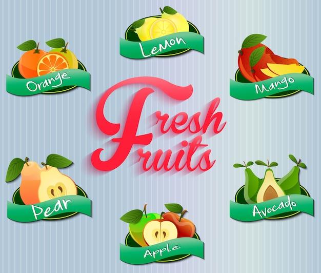 Kolekcja etykiet owoców