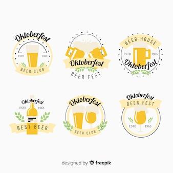 Kolekcja etykiet piwa oktoberfest w płaskiej konstrukcji