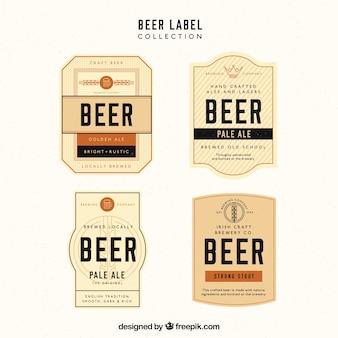 Kolekcja etykiet piwa z pomarańczowymi szczegóły