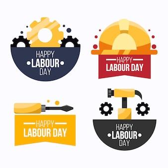Kolekcja etykiet płaskich dni pracy