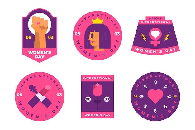 Kolekcja etykiet płaskich dzień kobiet