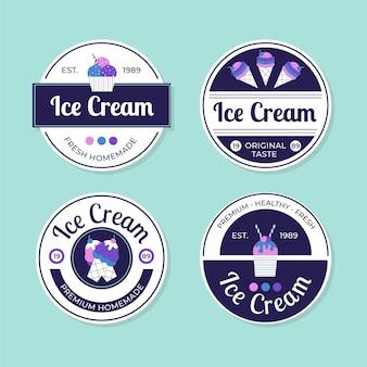 Kolekcja etykiet płaskich lodów