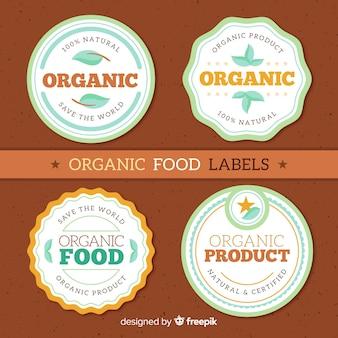 Kolekcja etykiet płaskiej żywności ekologicznej