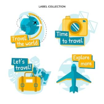 Kolekcja etykiet podróżnych o płaskiej konstrukcji