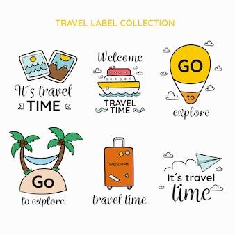 Kolekcja etykiet podróży