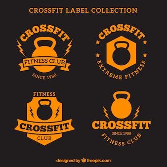 Kolekcja etykiet pomarańczowy crossfit