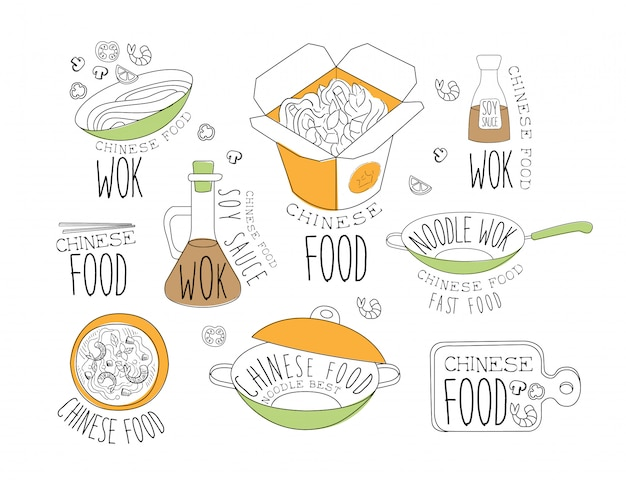 Kolekcja etykiet promocyjnych z makaronem chińskim wok