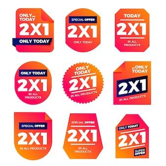 Kolekcja etykiet promocyjnych z ofertami specjalnymi