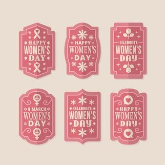 Kolekcja etykiet retro dzień kobiet