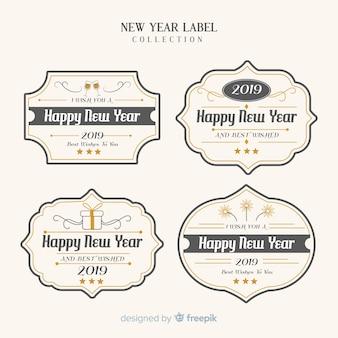 Kolekcja etykiet rocznika nowego roku