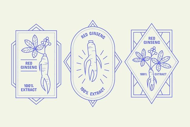 Kolekcja etykiet słoik żeń-szenia
