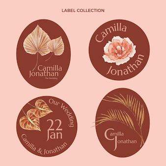 Kolekcja etykiet ślubnych akwarela boho
