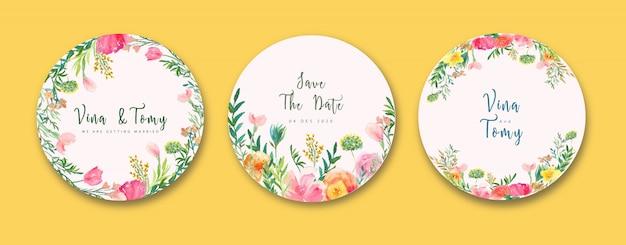 Kolekcja etykiet ślubnych w stylu przypominającym akwarele wieniec kwiatowy