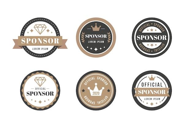 Kolekcja etykiet sponsora w stylu vintage