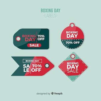 Kolekcja etykiet sprzedaż dzień boxing