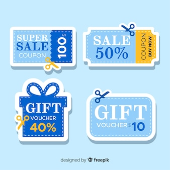 Kolekcja etykiet sprzedaż kupon promocyjny