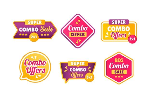 Kolekcja etykiet sprzedaży combo