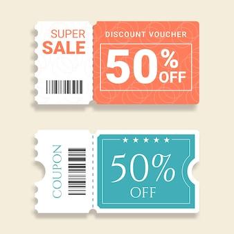Kolekcja etykiet sprzedaży kuponów