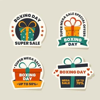 Kolekcja etykiet sprzedaży płaskiego dnia boksu