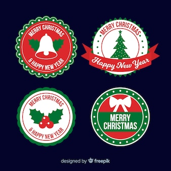 Kolekcja etykiet świątecznych płaska konstrukcja