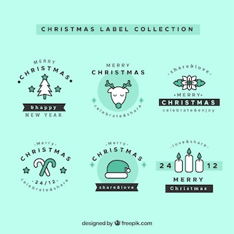 Kolekcja etykiet świątecznych w kolorze turkusowym i czarnym