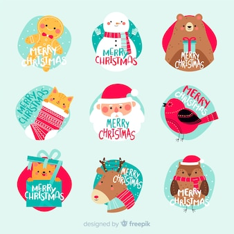 Kolekcja etykiet świątecznych w płaskiej konstrukcji