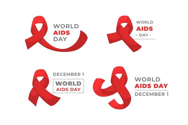 Kolekcja etykiet światowego dnia pomocy z czerwonymi wstążkami