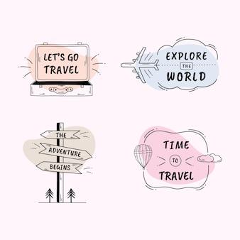 Kolekcja etykiet światowego dnia turystyki