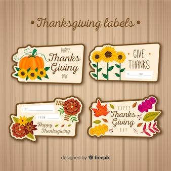 Kolekcja etykiet święto dziękczynienia w ręcznie rysowane stylu