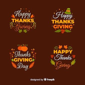 Kolekcja etykiet szczęśliwy dzień dziękczynienia w ręcznie rysowane stylu