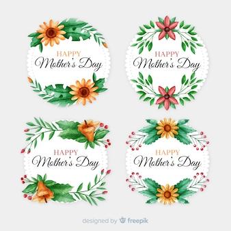 Kolekcja etykiet szczęśliwy dzień matki
