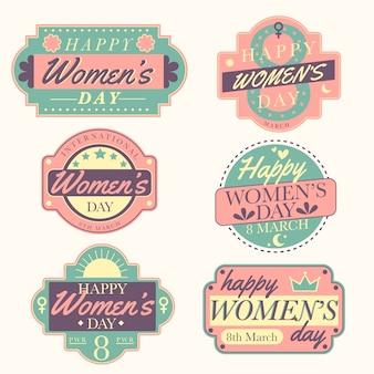 Kolekcja etykiet vintage dzień kobiet